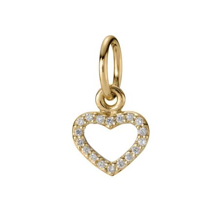 Gold heart pendant, 14K, 0.072ct TW h/vs diamonds