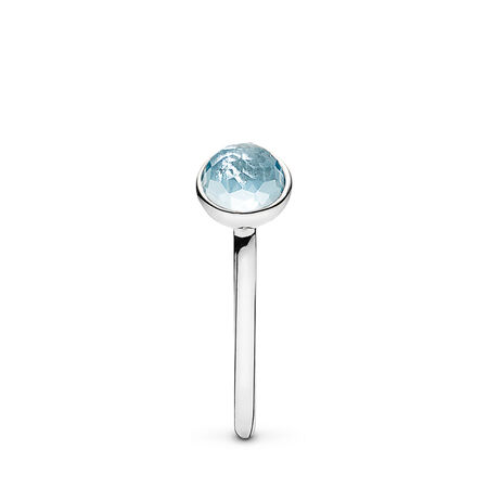 March Droplet Ring, Aqua Blue Crystal, Sterling silver, Blue, Crystal - PANDORA - #191012NAB