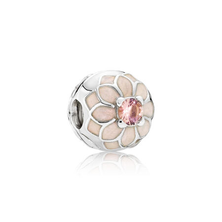 Blooming Dahlia Clip, Cream Enamel & Blush Pink Crystal