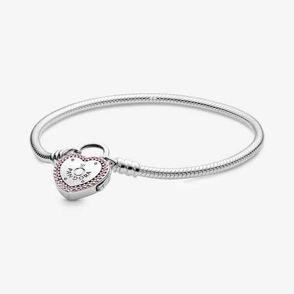 Pandora Moments Heart Padlock Clasp Snake Chain Bracelet