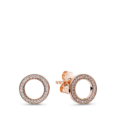 Forever PANDORA Stud Earrings, PANDORA Rose™ & Clear CZ, PANDORA Rose, Cubic Zirconia - PANDORA - #280585CZ