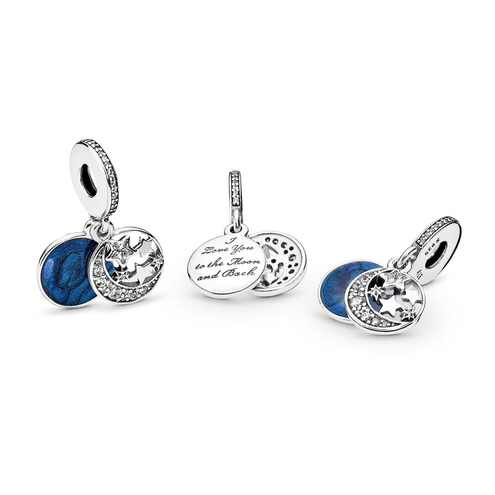 c923f31f2 Moon & Blue Sky Dangle Charm, Sterling silver, Enamel, Blue, Cubic Zirconia