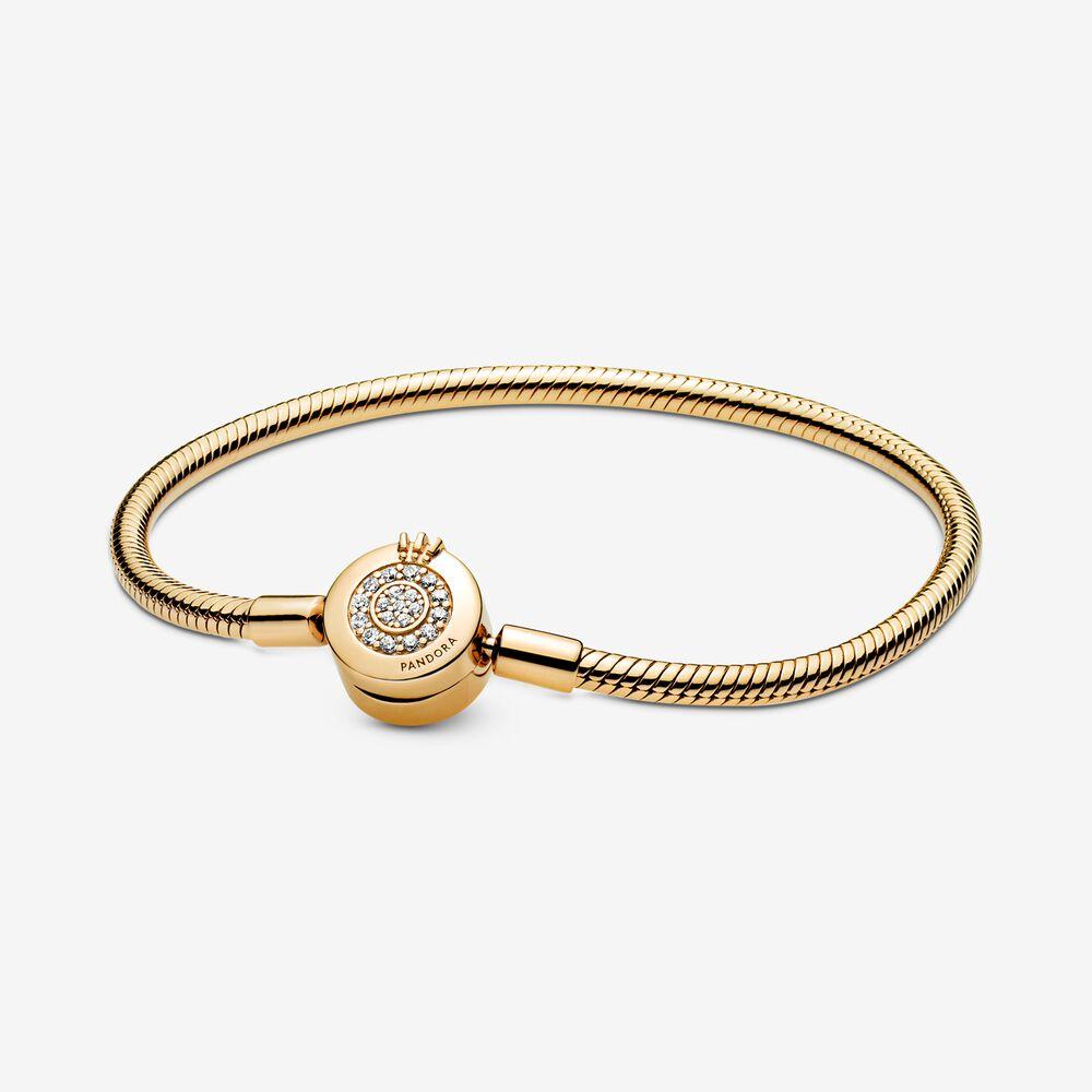 Pandora Moments Sparkling Crown O Snake Chain Bracelet | Gold ...
