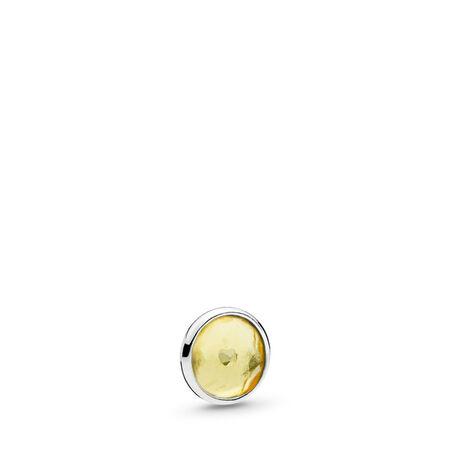 November Droplet Petite Locket Charm, Sterling silver, Citrine - PANDORA - #792175CI