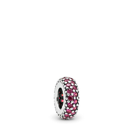 Inspiration Within Spacer, Red CZ, Sterling silver, Red, Cubic Zirconia - PANDORA - #791359CZR