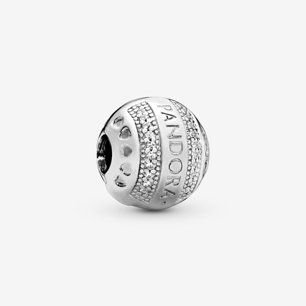 Pandora Logo Round Clip Charm