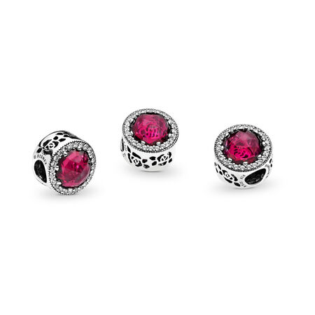 Disney, Belle's Radiant Rose Charm, Cerise Crystals & Cubic Zirconia
