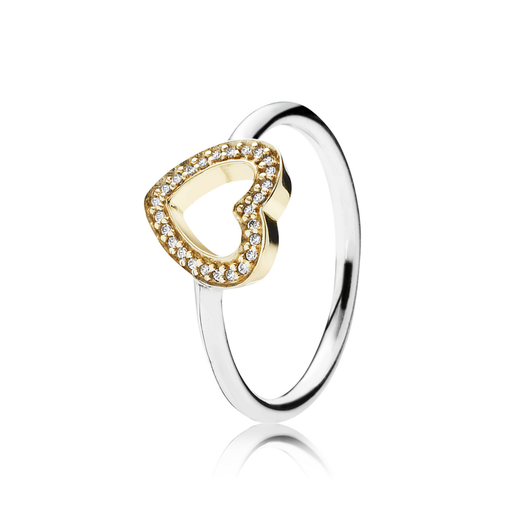 pandora heart silver and gold ring
