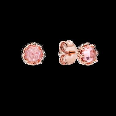 Pink Sparkling Crown Stud Earrings