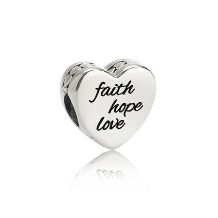 Faith, Hope, Love Charm, Black Enamel