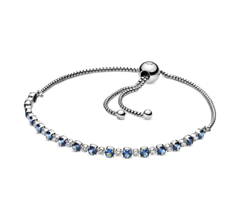 Rhodium plated sterling silver bracelet with moonlight blue crystal and clear cubic zirconia