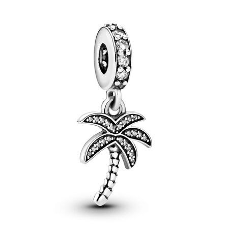 Sparkling Palm Tree Dangle Charm, Clear CZ