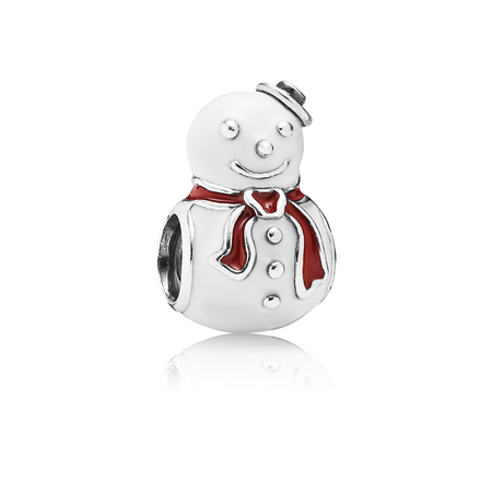 Happy Snowman Charm, White & Red Enamel