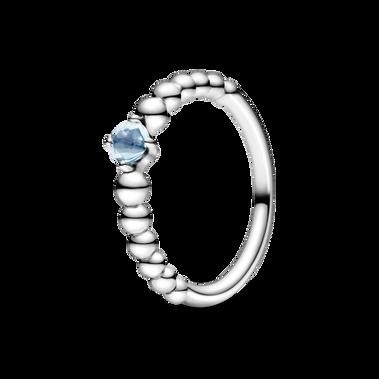 March Aqua Blue Beaded Ring