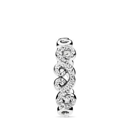 Heart Swirls Ring, Clear CZ, Sterling silver, Cubic Zirconia - PANDORA - #197117CZ