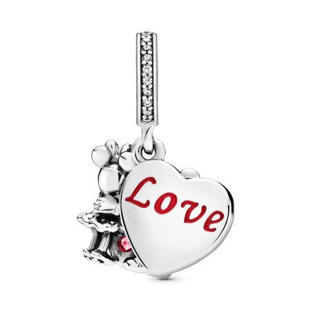 Disney, Minnie & Mickey With Love Charm, Sterling silver, Enamel, Cubic Zirconia - PANDORA - #797769CZR