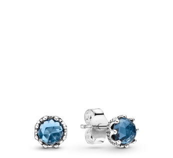Blue Sparkling Crown Stud Earrings