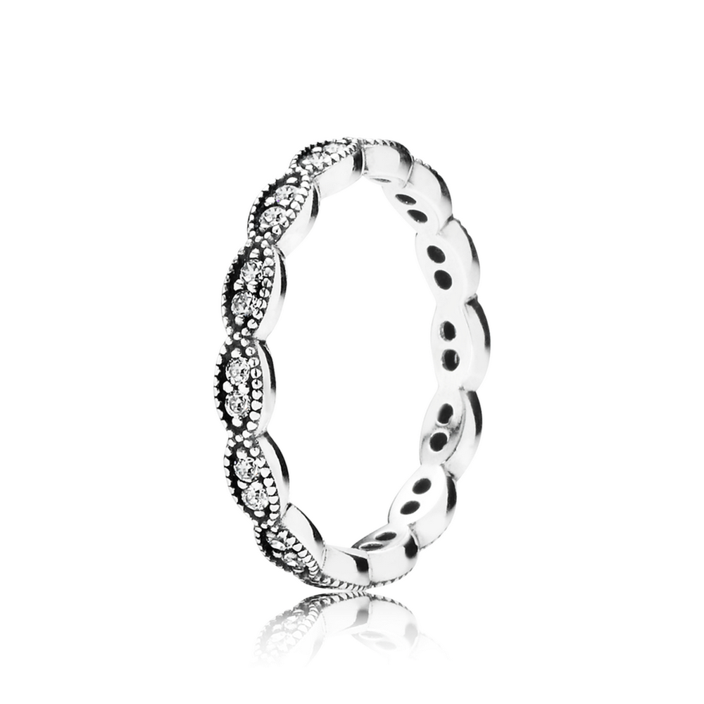 Sparkling Leaves Stackable Ring Clear Cz Pandora Jewelry Us