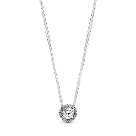 Round Sparkle Necklace, Sterling silver, Cubic Zirconia - PANDORA - #396240CZ-45