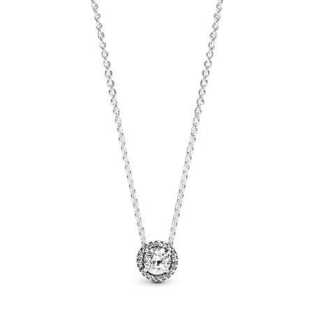 Round Sparkle Necklace, Sterling silver, Cubic Zirconia - PANDORA - #396240CZ