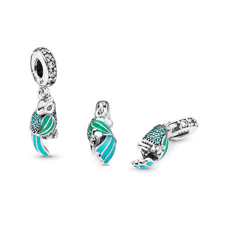 Tropical Parrot Dangle Charm, Mixed Enamels, Teal & Clear CZ, Sterling silver, Enamel, Green, Cubic Zirconia - PANDORA - #791903ENMX