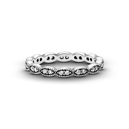 890772b52acb7 Sparkling Leaves Stackable Ring, Clear CZ Sterling silver, Cubic ...