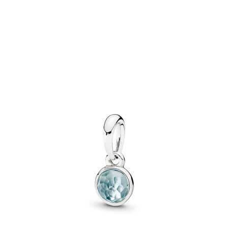 March Droplet Pendant, Aqua Blue Crystal, Sterling silver, Blue, Crystal - PANDORA - #390396NAB