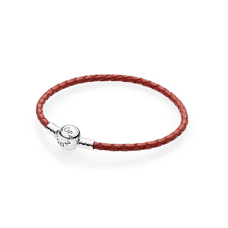 Red Braided Leather Charm Bracelet, Sterling silver, Leather, Red - PANDORA - #590745CRD-S