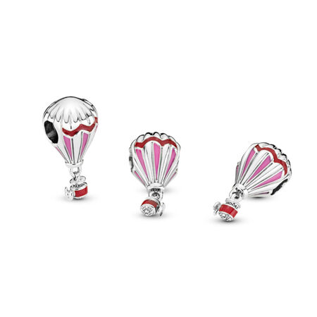 Hot Air Balloon Charm, Sterling silver, Enamel, Pink - PANDORA - #798055ENMX