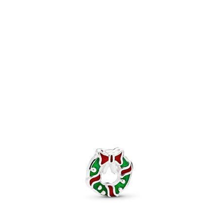 Holiday Wreath Petite Locket Charm, Berry Red & Green Enamel, Sterling silver, Enamel, Green - PANDORA - #796397ENMX