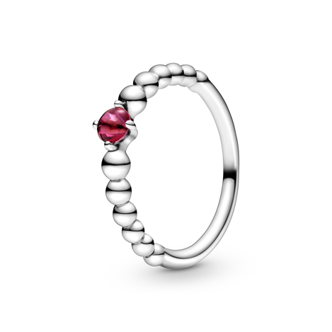 Sterling silver ring with treated blazing red topaz