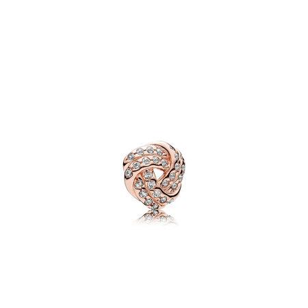 Sparkling Love Knot Petite Locket Charm, PANDORA Rose™ & Clear CZ