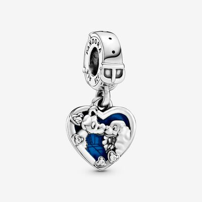 Disney Lady and the Tramp Heart Dangle Charm , Silver