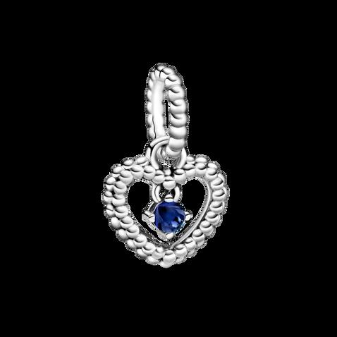 Sea Blue Beaded Heart Dangle Charm