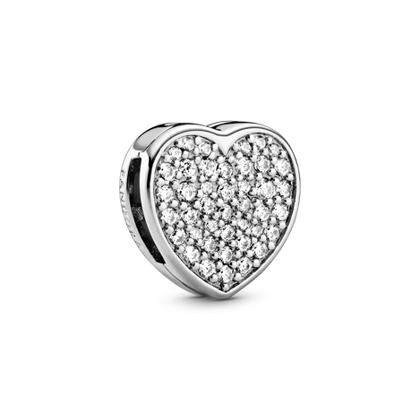 Heart sterling silver clip charm with clear cubic zirconia