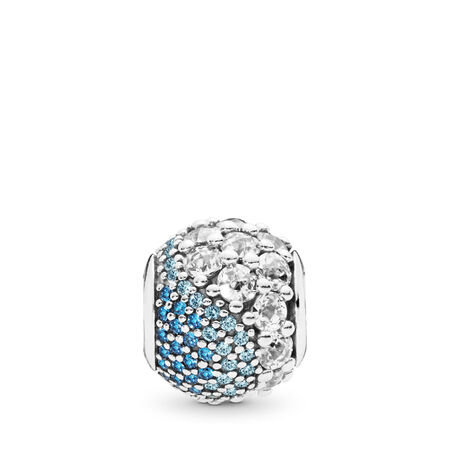 Blue Enchanted Pavé Charm, Blue & Clear CZ, Sterling silver, Blue, Mixed stones - PANDORA - #797032NABMX