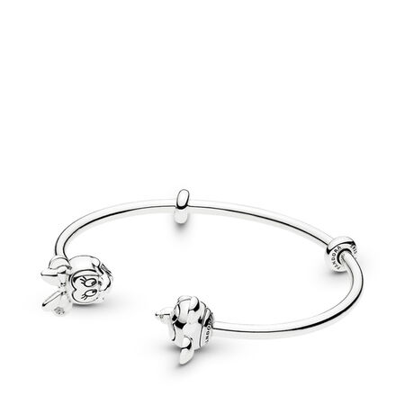 Disney, Mickey & Minnie Open Bangle Bracelet