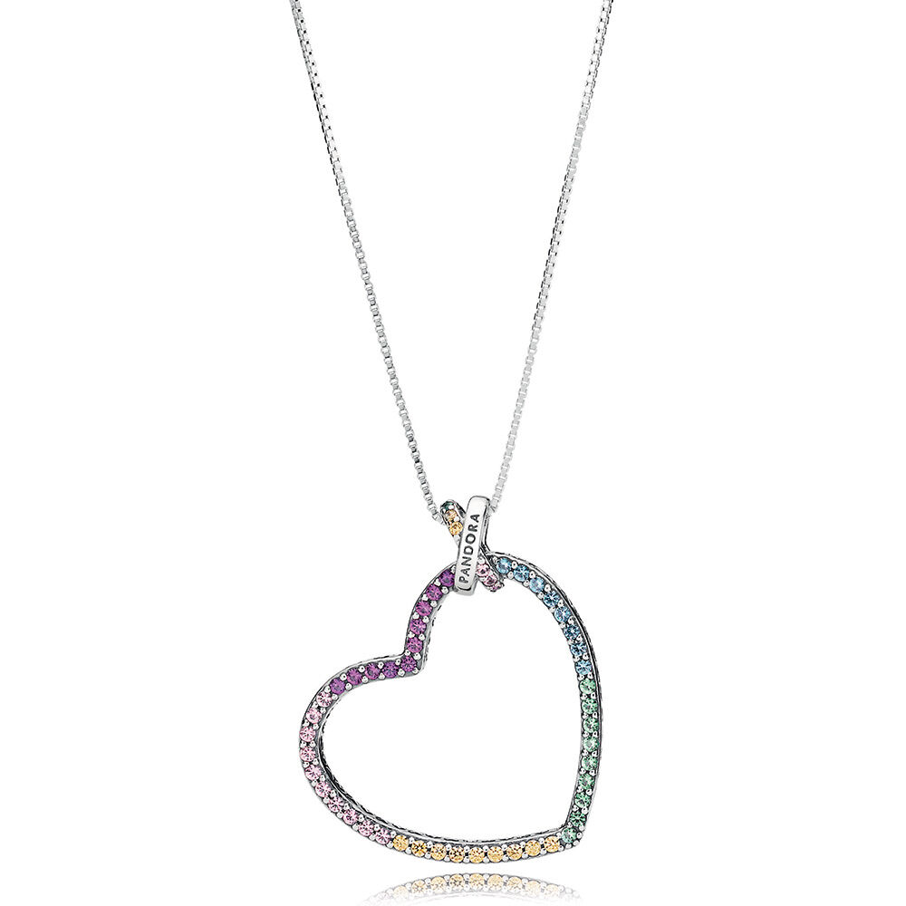 Relatively Multi-Colored Heart Necklace | PANDORA Jewelry US YM85