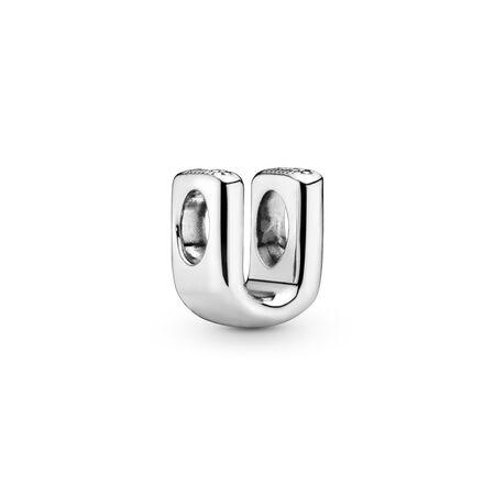 Letter U Charm, Sterling silver - PANDORA - #797475
