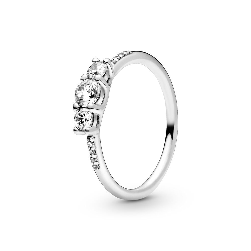 971588958 Clear Three-Stone Ring, Sterling silver, Cubic Zirconia - PANDORA - # 196242CZ