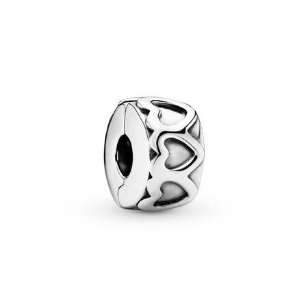 Row of Hearts Clip, Sterling silver - PANDORA - #791978