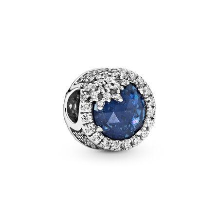Dazzling Snowflake Charm, Twilight Blue Crystals & Clear CZ