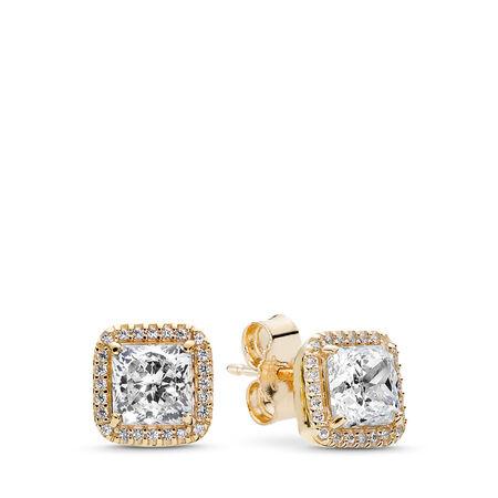 Timeless Elegance Stud Earrings, 14K Gold & Clear CZ, Yellow Gold 14 k, Cubic Zirconia - PANDORA - #250327CZ