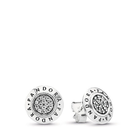 PANDORA Signature Stud Earrings, Clear CZ, Sterling silver, Cubic Zirconia - PANDORA - #290559CZ