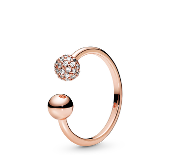Polished & Pavé Bead Open Ring