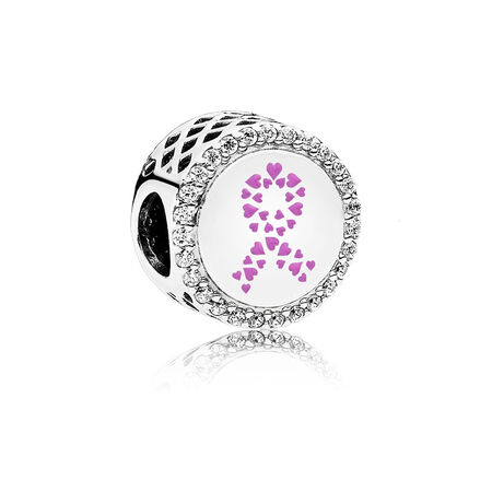 Ribbon of Strength Charm, Pink Enamel and Clear CZ