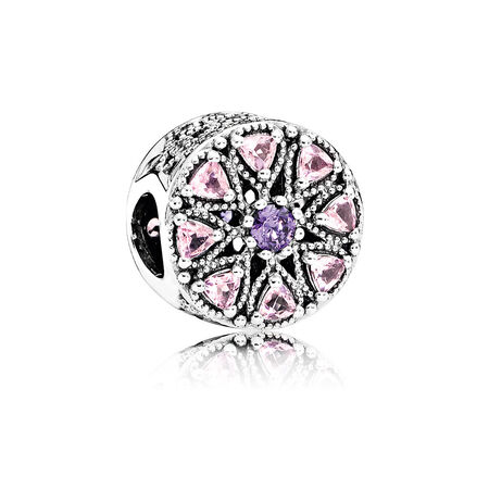 Shimmering Medallion Charm, Multi-Colored CZ