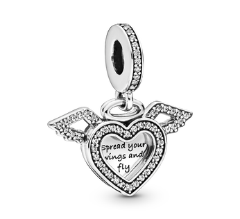 Heart and wings sterling silver dangle with clear cubic zirconia