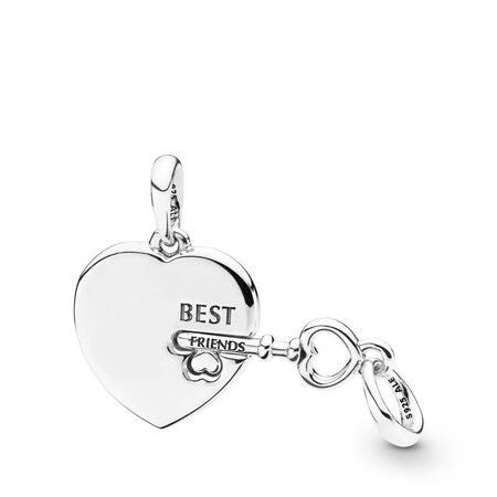 Best Friends Heart & Key Necklace Pendant, Sterling silver - PANDORA - #398130