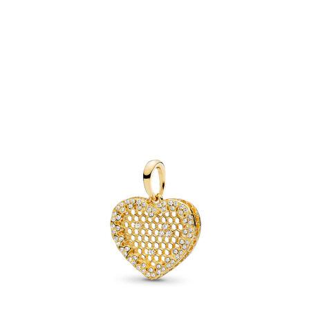 2c8e810f2 Queen Bee Pendant, PANDORA Shine™, Black Enamel & Clear CZ 18ct Gold ...